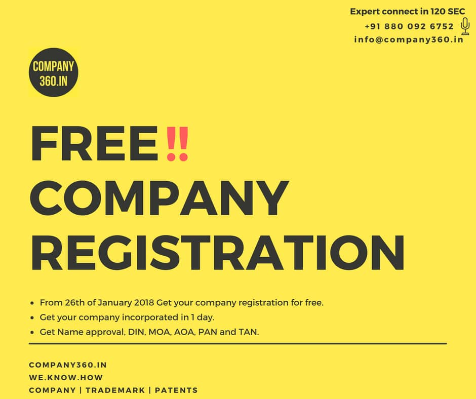 Company Registration For Free In India In Just 1 Day Its