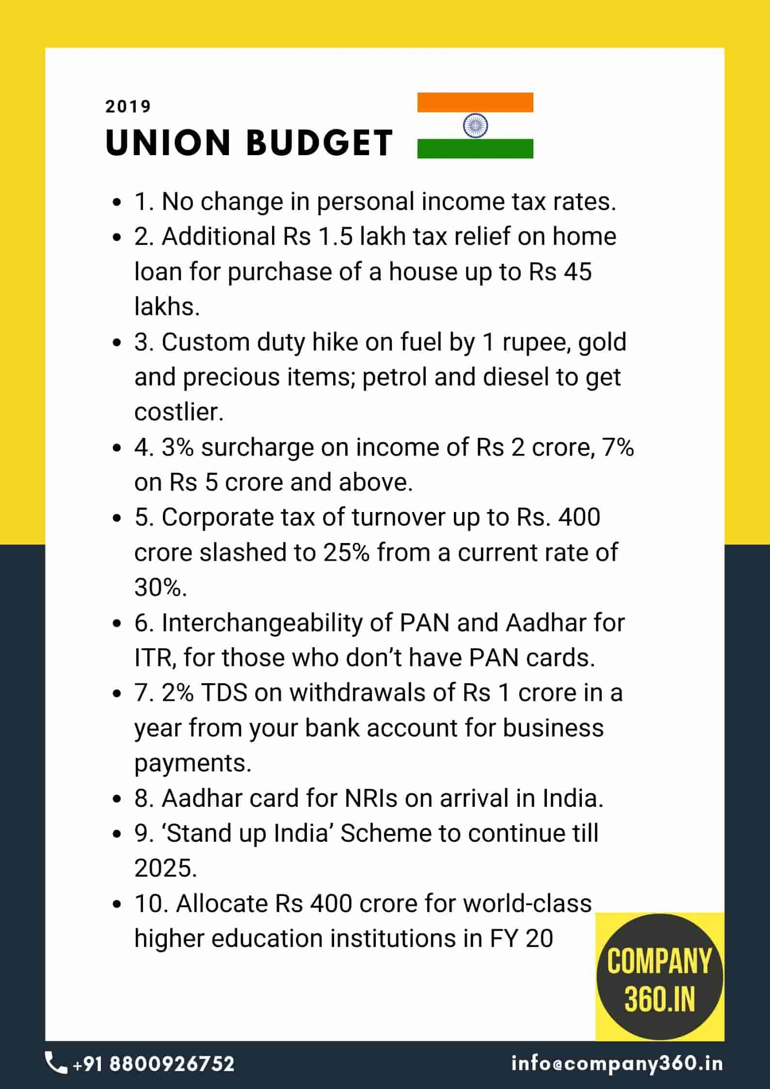 Budget 2019 India Key Announcements